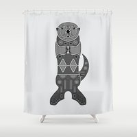 otters Shower Curtains featuring Sea Otter by Hinterlund