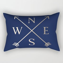 Gold on Navy Blue Compass Rectangular Pillow
