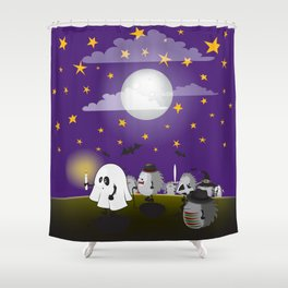 Halloween Hedgehogs Party Gang Shower Curtain