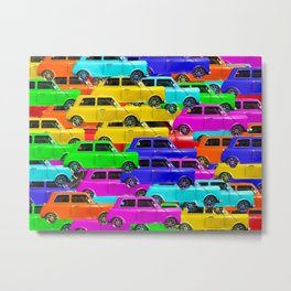 vintage car toy pattern background in yellow blue pink green orange Metal Print