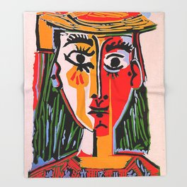 Head of a woman in a Hat Picasso Throw Blanket