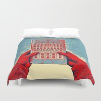 the grand budapest hotel Duvet Covers featuring GRAND BUDAPEST HOTEL COLOR by Oleol