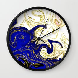 blue ,gold,rose,black,golden fractal, vibrations, circles modern pattern, Wall Clock