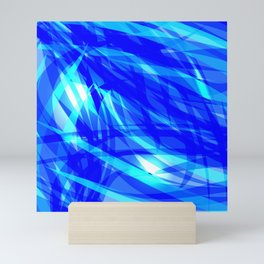 Vector glowing water background made of blue sea lines. Mini Art Print