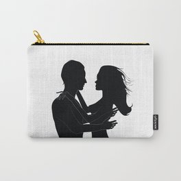The love silhouettes of man and woman in black color Carry-All Pouch