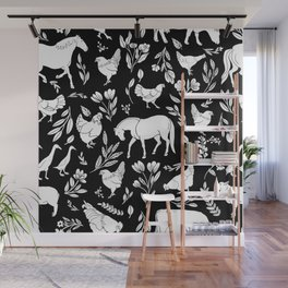 Modern Folk Art Horse Pattern with Botanicals and Chickens Wall Mural