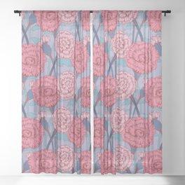 Dark Pink Flowers Pattern Sheer Curtain