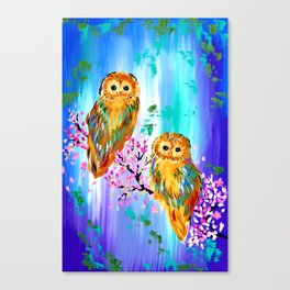 2 Owls with Cherry Blossom Canvas Print