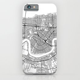 New Orleans Map White iPhone Case