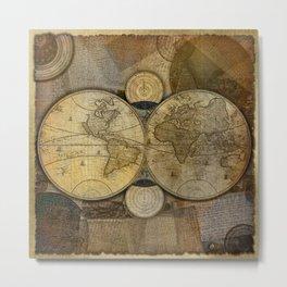 """""""Vintage paper & Maps (burlap texture)"""" Metal Print"""