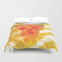 pizza Duvet Covers featuring Pizza by Angelz