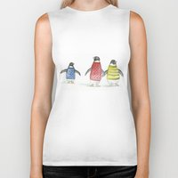 penguins Biker Tanks featuring penguins by Maria Durgarian