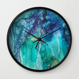Under the Sea in alcohol inks Wall Clock