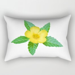 Cute Yellow Flower with Leaves Photo Rectangular Pillow