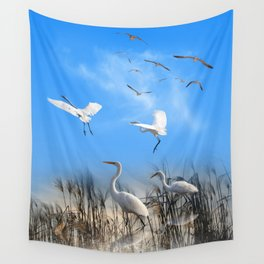 White Egrets in a Morning 1 Wall Tapestry