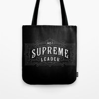 supreme Tote Bags featuring Supreme Leader by UiNi