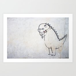 The dinosaur ate his owner Art Print