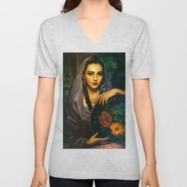 Jesus Helguera Painting of a Calendar Girl with Dark Shawl Unisex V-Neck