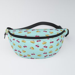 cherries and plums on a blue background Fanny Pack