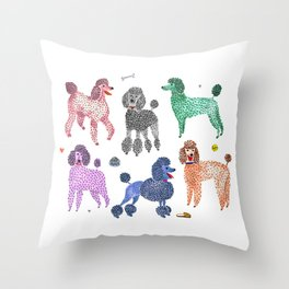 Poodles by Veronique de Jong Throw Pillow