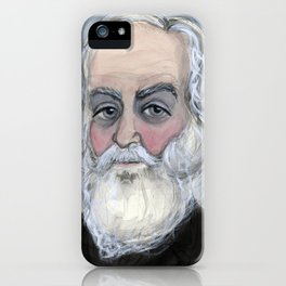 """Leaves of Walt"", Walt Whitman Literary Portrait iPhone Case"