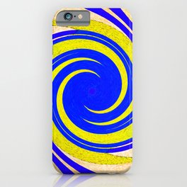 Colorful yellow and blue spiral swirling elliptical constellation star galaxy abstract design iPhone Case