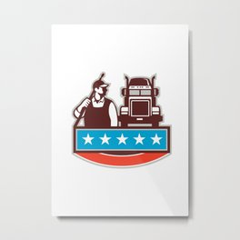 Pressure Washer Worker Truck USA Flag Retro Metal Print