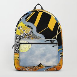 flying over silver and golden mountains Backpack