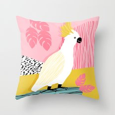 FeelFree - memphis throwback retro bird tropical nature animal parrot cockatoo 1980s 80s pop art Throw Pillow