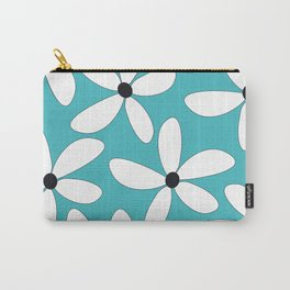 The Graphic Art Series #9: Turqouise Happy Flowers Carry-All Pouch