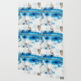 Blue Skies: a pretty, minimal abstract mixed-media piece in blue, white and gold Wallpaper