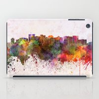 oakland iPad Cases featuring Oakland skyline in watercolor background by Paulrommer