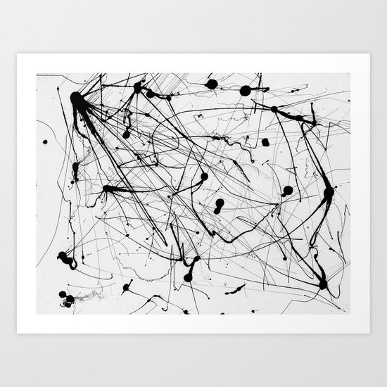 Abstract Ink (Black on White) Art Print