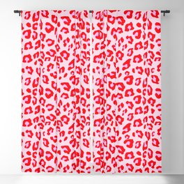 Leopard Print - Red And Pink Blackout Curtain