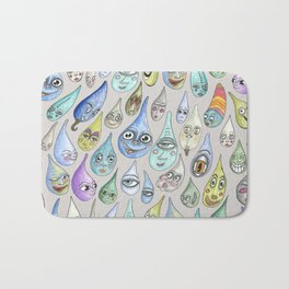 raindrops with personality, cool light gray grey Bath Mat