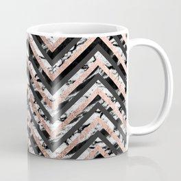 Black and White Marble and Rose Gold Chevron Zigzag Coffee Mug