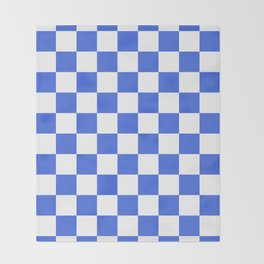 Checkered - White and Royal Blue Throw Blanket