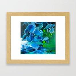 Blue Orchid Refletions Framed Art Print