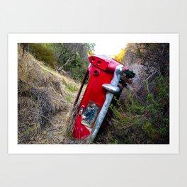 Retro Red Mountain Truck Art Print