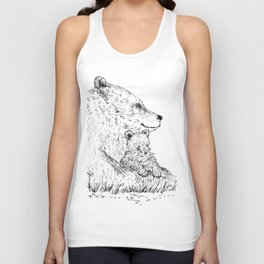 Mom and Baby Grizzly Bear Unisex Tank Top