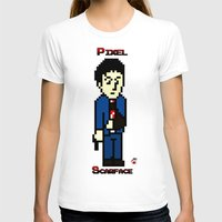 scarface T-shirts featuring Pixel Scarface by Rapsmyinitials