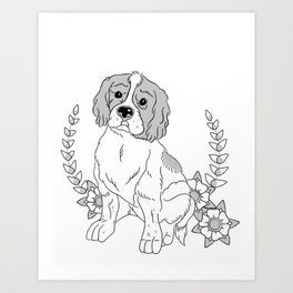 Otis and flowers Art Print