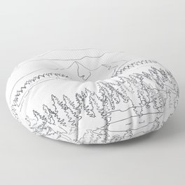 Minimal Mountain Lake Landscape 2 Floor Pillow