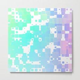 Pink Blue and Green Digital Pixel Art Metal Print