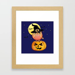 Haloween owl, pumpkin and bats illustration Framed Art Print