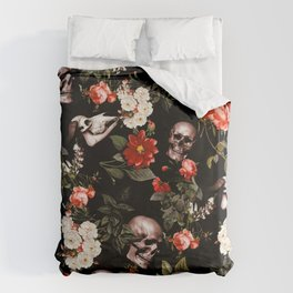 Floral and Skull Dark Pattern Bettbezug