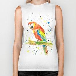 Parrot (Scarlet Macaw) - Watercolor Painting Print Biker Tank