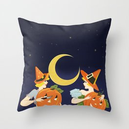 Vintage Halloween Costume Party Pumpkin Carving Throw Pillow