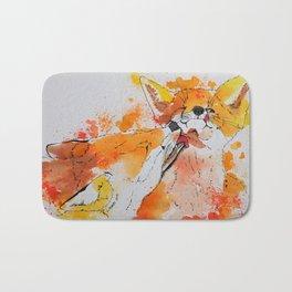 Red fox and fox cub Bath Mat