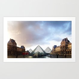 Paris Louvre pyramids black and white with color Art Print